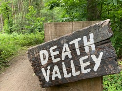 Death Valley sign in Sherwood Pines, part of the Kitchener Trail