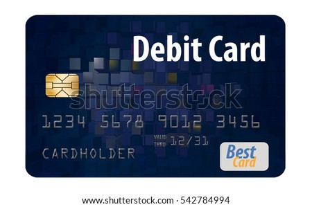 debit card isolated on a white...