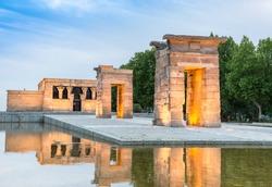 Debod temple in Madrid Spain