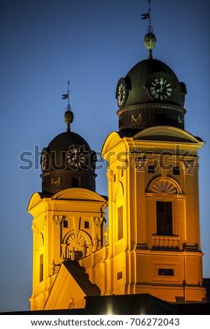 Debrecen city church towers right before sunset - Debrecen város Stock fotó ©