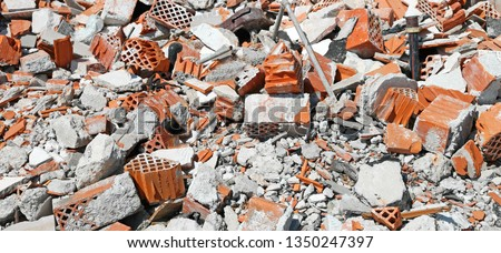 debris and rubble with broken bricks and mortar