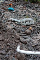 debris left over after a washout and flood