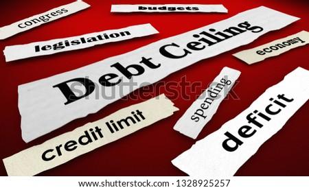 Debt Ceiling Deficit Newspaper Headlines 3d Illustration