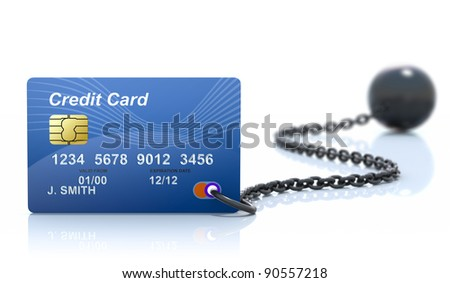 Debt-3D concept with credit card and iron ball