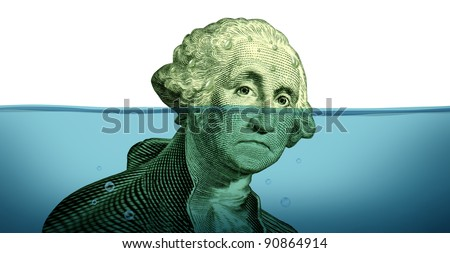 Debt problems keeping your financial head above water represented by a drowning George Washington portrait sinking in blue water as a symbol of urgent business and money management failure and defeat.