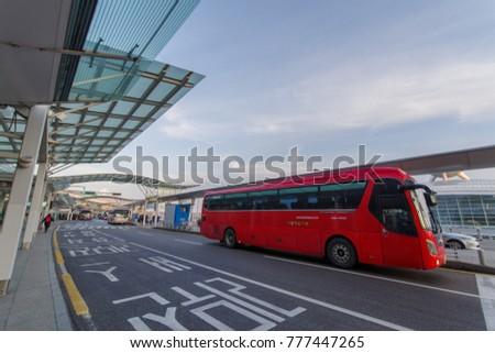 Dec 9,2017 Bus station at Incheon Airport departure area,Incheon , Korea