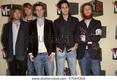 Dec 1, 2004; Los Angeles, CA: Pop group MAROON 5 at the VH1 Big in '04 Awards at the Shrine Auditorium, Los Angeles. - stock photo