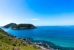 Decades after those wars, a peaceful Con Dao is a Vietnamese island heaven. Wide landscape of Con Dao island, Vietnam