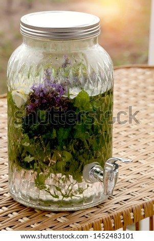 decanter, glass, stylish for drinks with a tap, convenient to use, lemon, herbs #1452483101