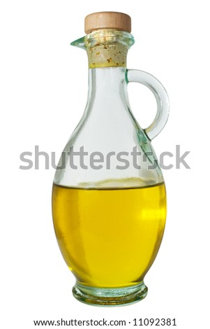 decanter with extra virgin olive oil