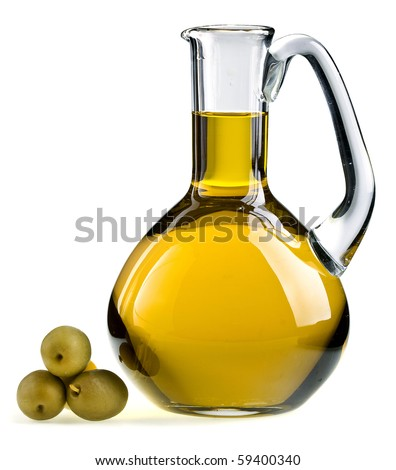 decanter with olive oil isolated on white background