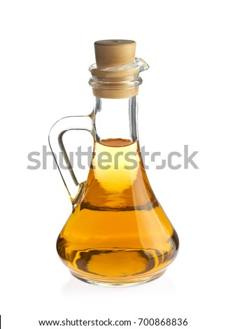 Decanter with organic apple vinegar, isolated on white background. Foto stock ©