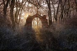 Decayed gate of an abandoned cemetery