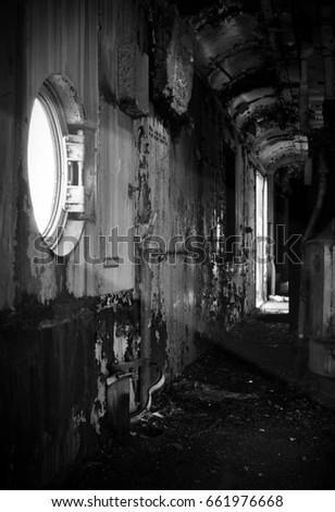 decayed interior of a spooky...