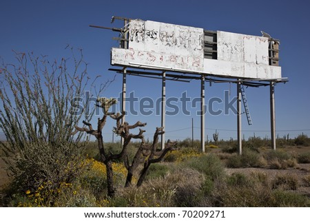 Decaying Billboard Sign in the Desert
