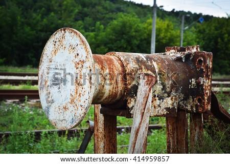 decaying railroad car bumper...