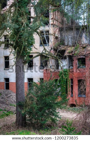 Stock Photo Decaying ruins of the Bellitzer healing sites for lung disease at the gates of Berlin