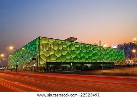 """December 18: Beijing's swimming Olympic Stadium (""""watercube"""") illuminated at dusk on December 18th, 2008 after the 2008 Olympic Games (August, 2008)."""