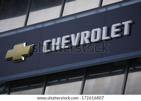 DECEMBER 2013 BERLIN the logo of the brand Chevrolet&quo t Berlin