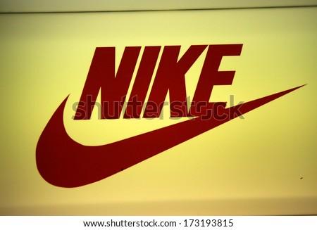 DECEMBER 2013 BERLIN the logo of the brand Nike Berlin