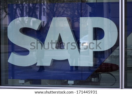 DECEMBER 2013 BERLIN the logo of the brand SAP Berlin