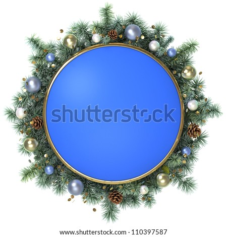December blue frame with a christmas tree branches.