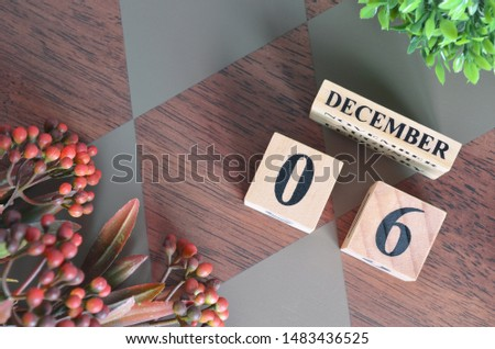 December 6. Date of December month. Number Cube with a flower leaves and bush on Diamond wood table for the background