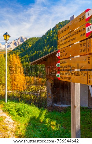 December 2014 during this time of year tourists walking along the paths of the beautiful val gardena follow these signs in order not to lose themselves. #756544642