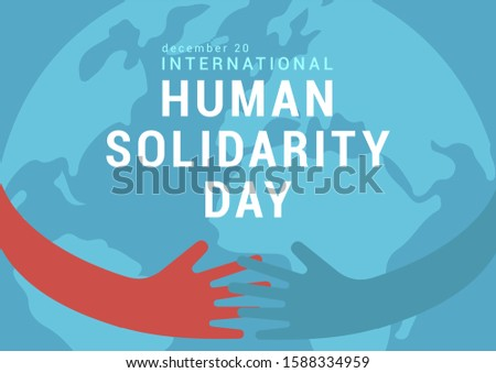December 20- Human Solidarity Day- Illustrations/ Images of important dates-in english language.  people, hands, hands together, illustration