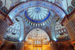 DECEMBER 18,2010 ISTANBUL.Blue Mosque (SULTANAHMET CAMII) interior.