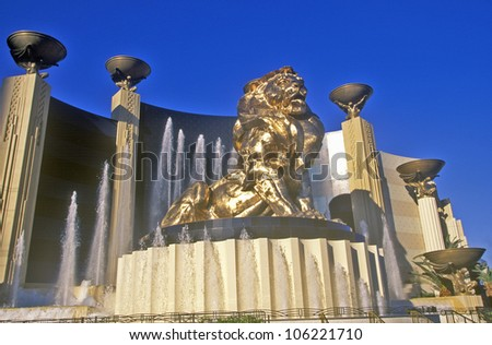 DECEMBER 2004 - Lion sculpture outside of the MGM Grand Hotel and Casino, Las Vegas, NV
