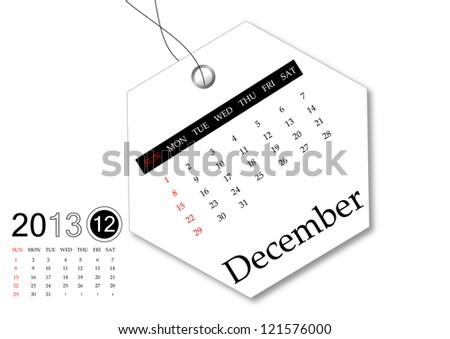 December of 2013 calendar