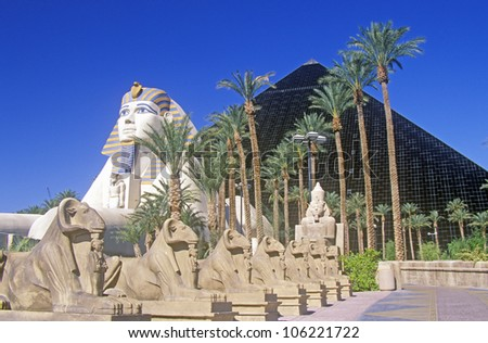DECEMBER 2004 - Replicas of Sphinx and Pyramid at the Luxor Hotel and Casino, Las Vegas, NV