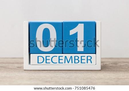 December 1st. Day 1 of december month, calendar on light background. Winter time