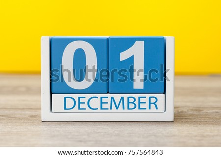 December 1st. Image of december 1 wooden color calendar on yellow background #757564843