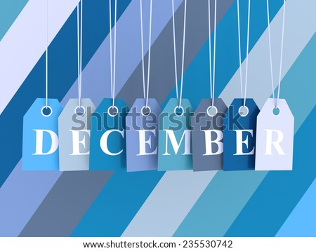 December tag on colored hanging labels. Winter colors