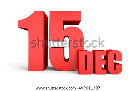 december 15 text on white background 3d illustration
