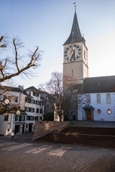 December 19th, 2019-Zurich, Switzerland. St. Peter Church Evangelical-Reformed Church of the Canton of Zurich member of the Federation of Swiss Protestant Churches as seen from St.Peterhofstatt plaza.