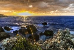 December twilight captured nearby the Ghajn Tuffieha bay, Malta.