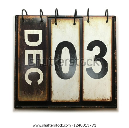 December 3 with vintage calendar on white background #1240013791