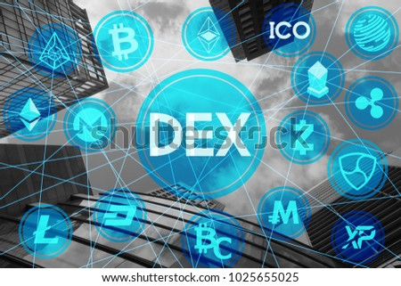 Decentralized EXchange various crypto currency network building background