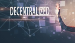 Decentralized with a hand in a dark light background