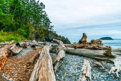 Deception Pass State Park beach in Oak Harbor, Washington State, USA, two hours north of Seattle.