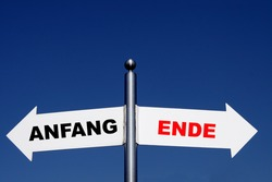 decision, beginning - ending, german sign