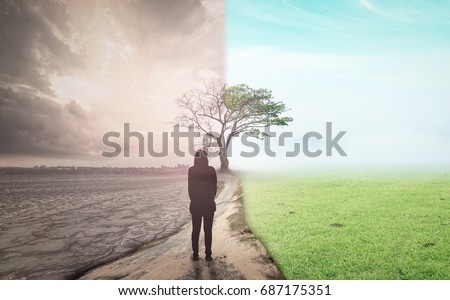 Decision change of life concept: Business woman standing between climate worsened with good atmosphere