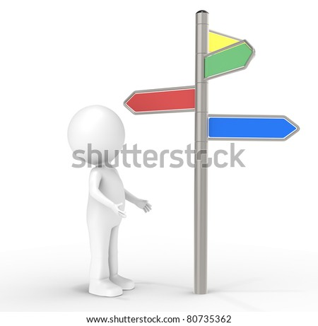 Decision. 3D human standing in front of a Signpost. Internet and Marketing Concept