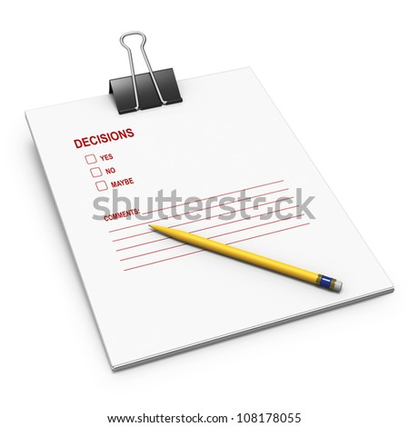 Decision making checklist on white background with yellow pen