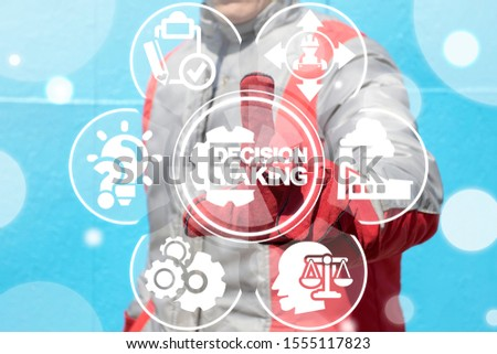 Decision making industry concept. Worker represents decision making cog wheel icon on virtual screen.