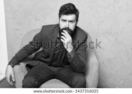 Decision making is part of management. Man bearded businessman thoughtful face solving problem making decision. Mental process of choosing from set of alternatives. Hard decision. Business decision.