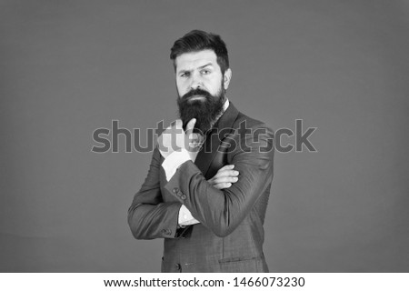 Decision making is part of management. Mental process of choosing from set of alternatives. Hard decision. Business decision. Man bearded businessman thoughtful face solving problem making decision.